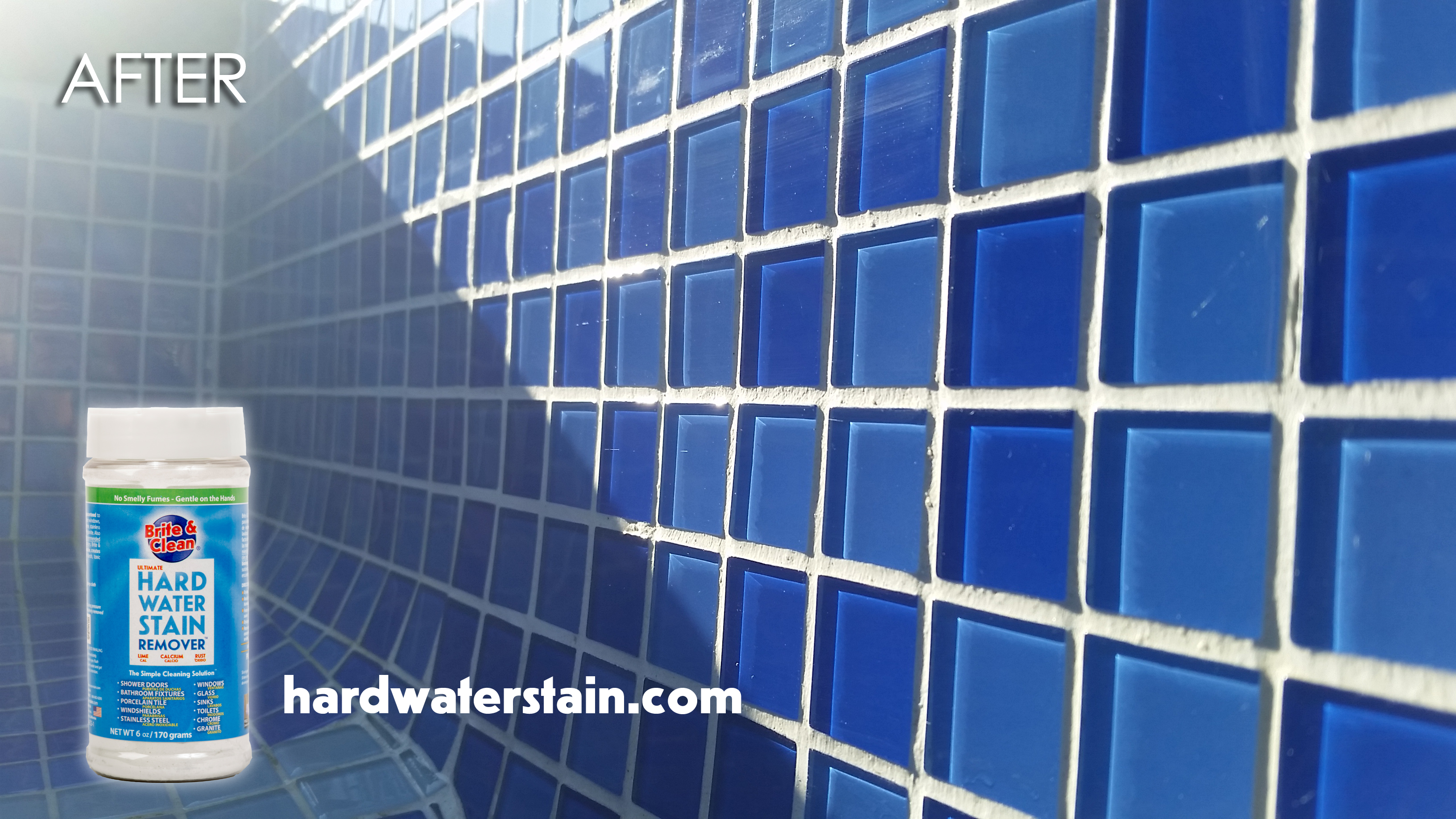 hard water stain removal on glass pool tile with Brite & Clean